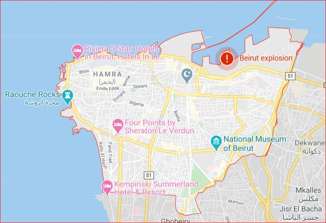 map beirut explosion